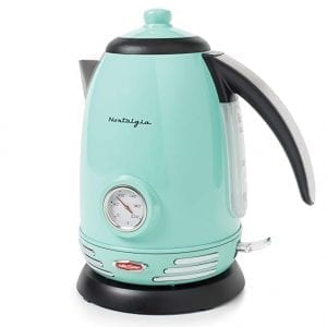 Nostalgia Stainless Steel Electric Kettles Temperature Gauge