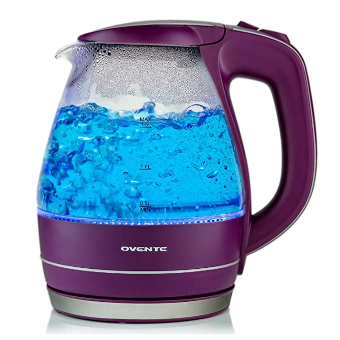 Ovente Electric Kettles BPA Free Glass Stainless Steel Purple