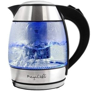 Megachef Glass Electric Kettles Tea Infuser Stainless Steel Body