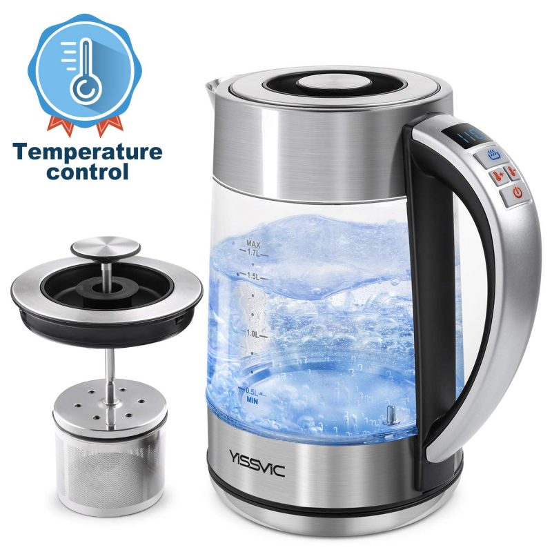 YISSVIC Electric Kettles Glass Temperature Control BPA Free