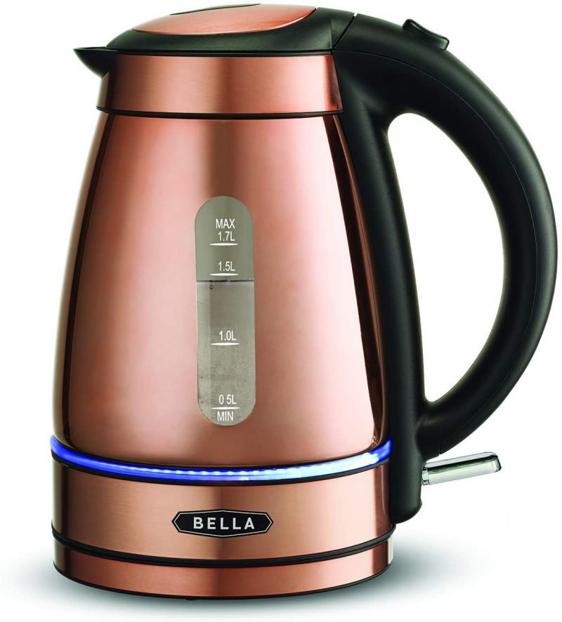 Bella Electric Kettles Tea Kettle Auto Shut-Off Copper Chrome