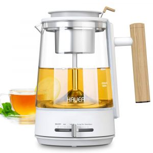 HAUEA Electric Kettles Glass Tea Pot Stainless Steel Strainer