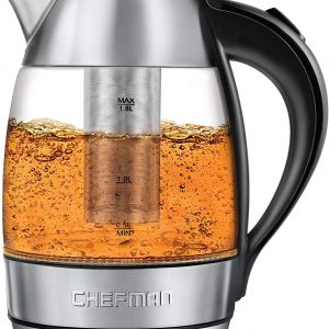 CHEFMAN Electric Kettles Glass Auto Shut-Off Tea Infuser 1.7L
