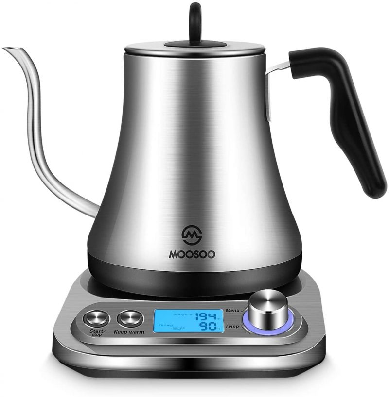 MOOSOO Electric Kettles Temperature Control Stainless Steel 0.8L