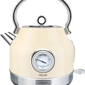 ZKIAH Electric Kettles Stainless Steel BPA-Free Retro Style 1.7L