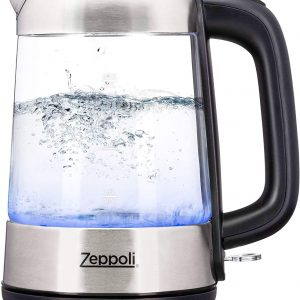 Zeppoli Electric Kettles Glass Stainless Steel Fast Boiling 1.7L