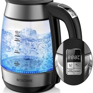 BOSCARE Electric Kettles Glass Variable Temperature Cordless 1.7L